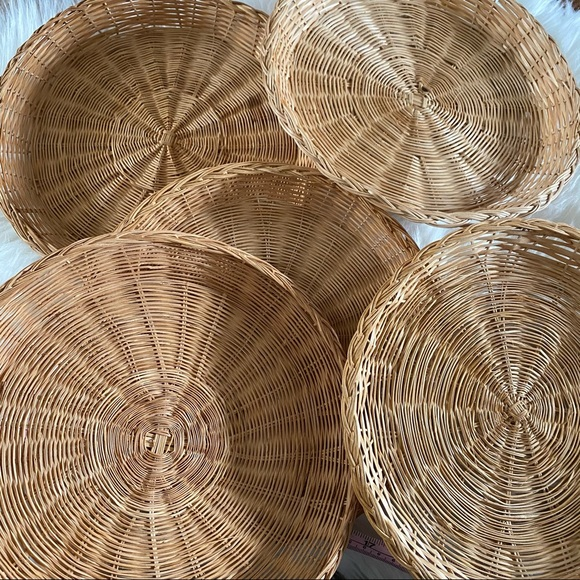 Set of 5 wicker rattan boho basket wall baskets